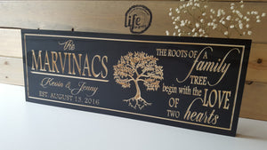 Custom Carved Wedding or Anniversary Sign - Family Tree