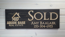 "Load image into Gallery viewer, Custom ""SOLD"" sign for Realtors - carved wood sign"