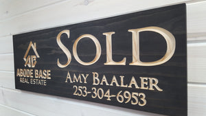 "Custom ""SOLD"" sign for Realtors - carved wood sign"