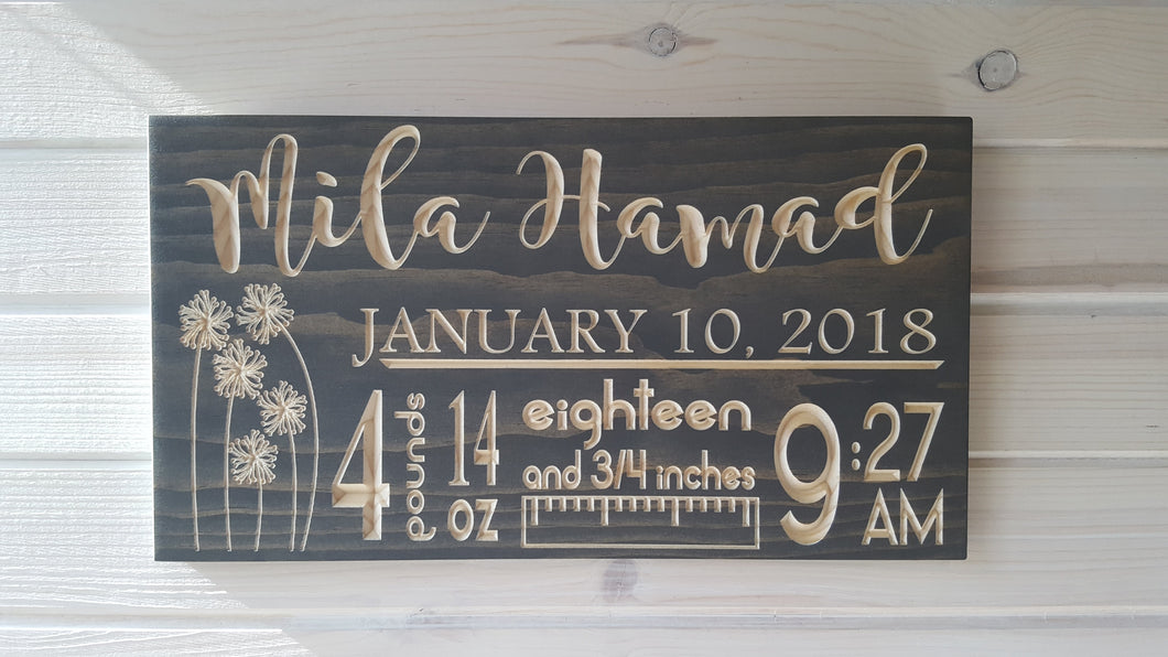 Baby Statistics Sign - Carved Wood Sign