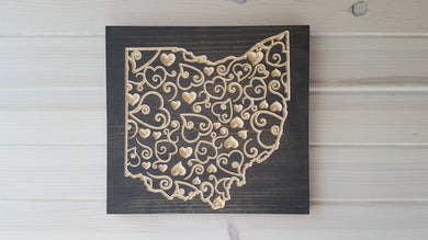 Ohio Scroll Hearts - Carved Wood Sign