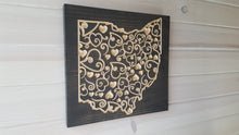 Load image into Gallery viewer, Ohio Scroll Hearts - Carved Wood Sign