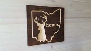 Ohio Whitetail Deer - Carved Wood Sign