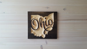 Scripted Ohio - Carved Wood Sign