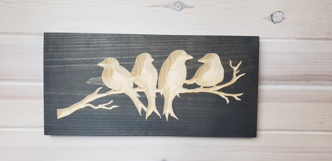 Four Birds - Carved Wood Sign