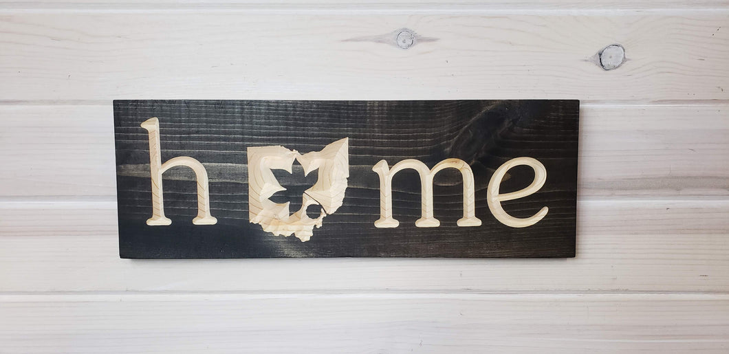 Ohio Home with Buckeye - Carved Wood Sign