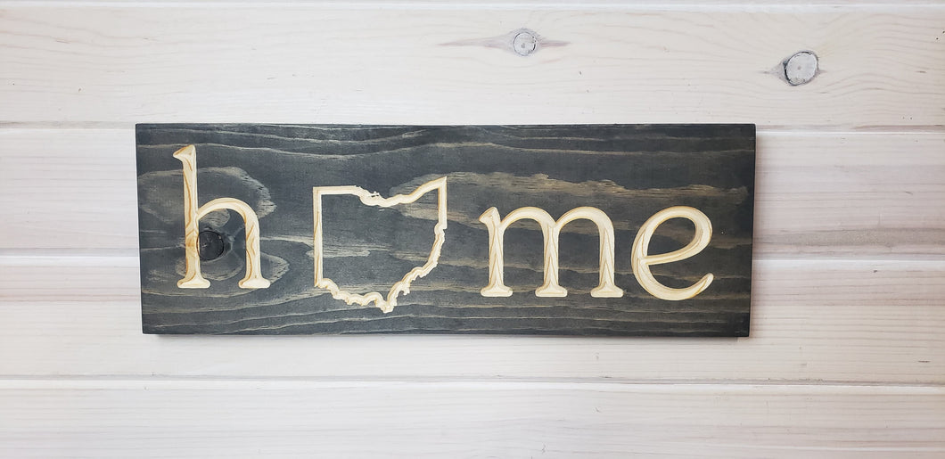Ohio Home Outline - Carved Wood Sign
