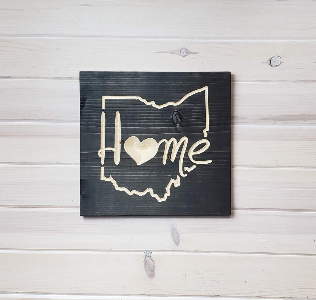 Ohio Home with Heart - Carved Wood Sign