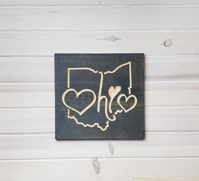 Ohio with 2 Hearts - Carved Wood Sign