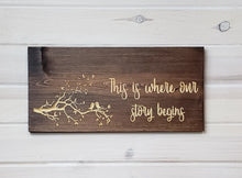 Load image into Gallery viewer, This Is Where Our Story Begins - Carved Wood Sign
