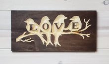 Load image into Gallery viewer, Love Birds - Carved Wood Sign - Wholesale