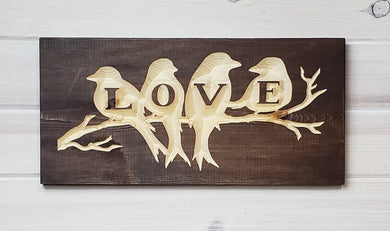 Love Birds - Carved Wood Sign