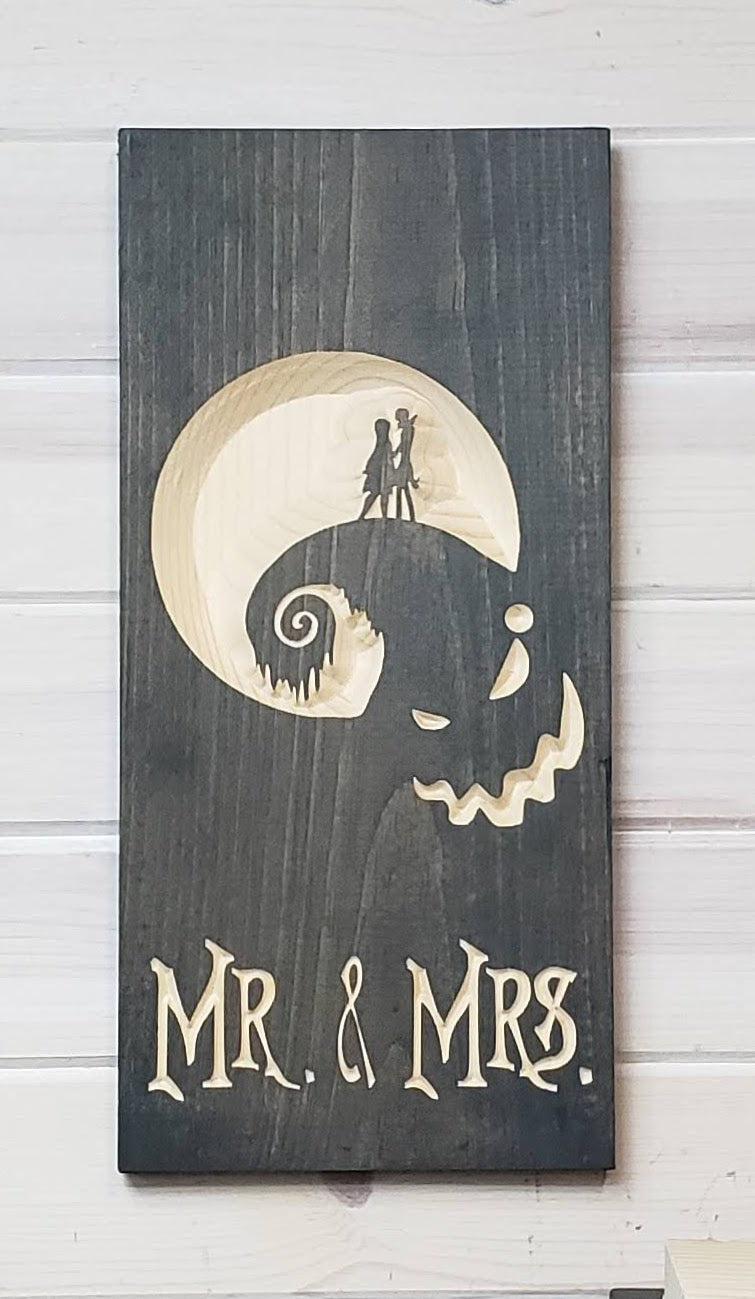 Mr. & Mrs. - Nightmare Before Christmas - Carved Wood Sign -Wholesale
