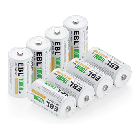 EBL Rechargeable D Batteries