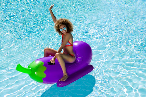🍆 Giant Eggplant Rider Emoji Pool Float