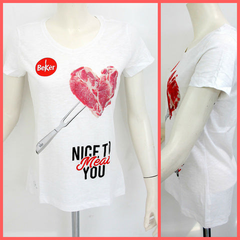 BEKèR t-shirt donna NICE TO MEAT YOU CUORE colore BIANCO estate 2018