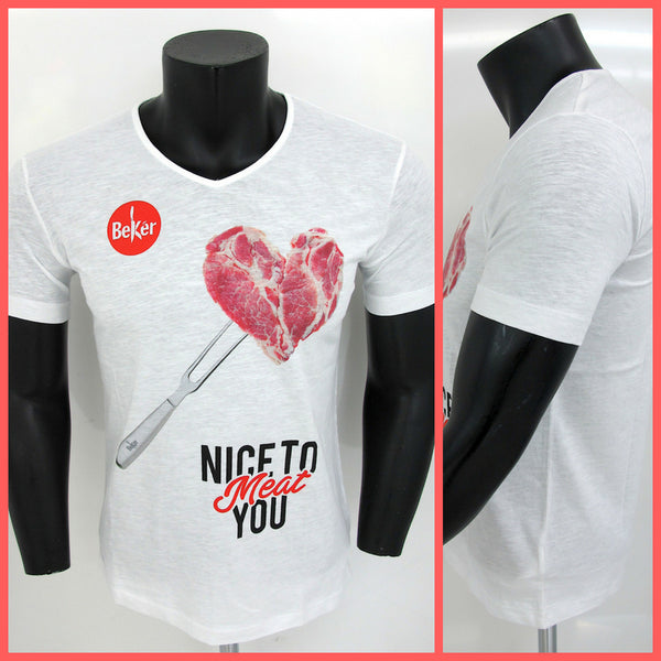 BEKèR t-shirt uomo NICE TO MEAT YOU CUORE colore BIANCO estate 2018