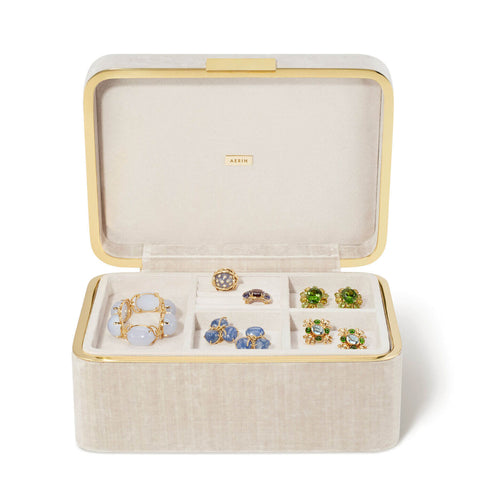 Beauvais Velvet Jewellery Box London Fog