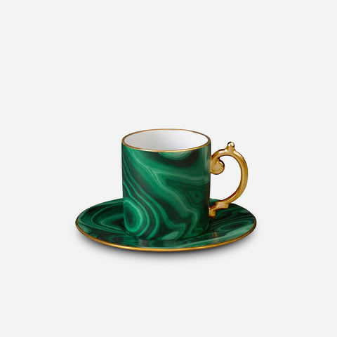 Malachite Espresso Cups and Saucers (Set of 6)