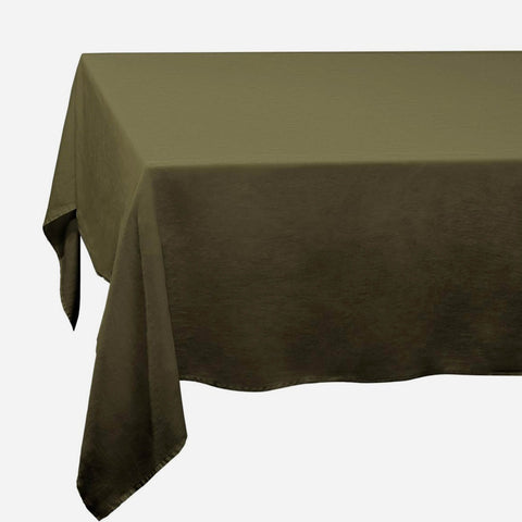 Olive Linen Sateen Tablecloth