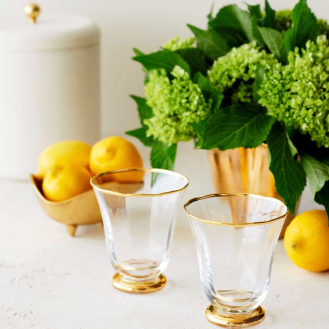 AERIN Sophia Set of Four Gold Rimmed Tumblers