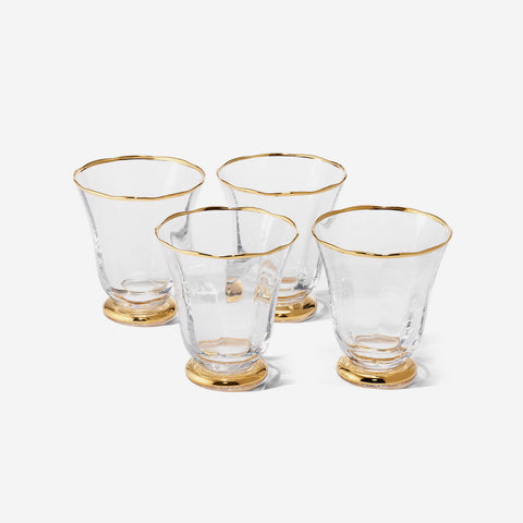 AERIN Sophia Set of Four Gold Rimmed Tumblers - BONADEA