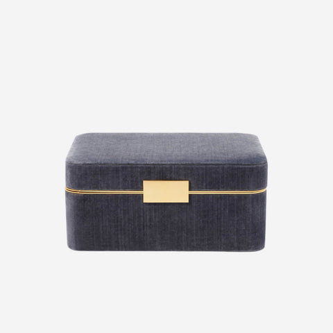 AERIN Beauvais Velvet Jewelry Box Dusk Blue