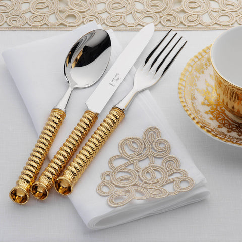 Alain Saint-Joanis Cordage Gold Plated 4-Piece Cutlery Set -BONADEA