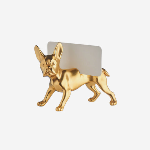 Augarten Wien 1718 - Gold French Bulldog Place Card Holder