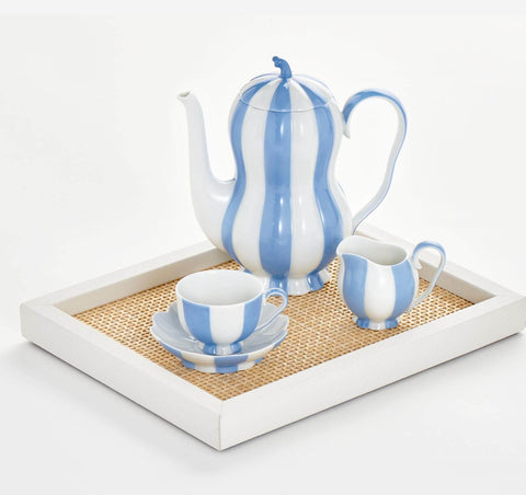 Augarten Wien 1718 Melon Mocha set in blue and white