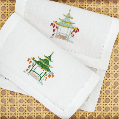 Set of Six Pagoda Embroidered Cocktail Napkins