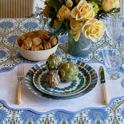 Set of Four Sky Blue Scallop Napkins