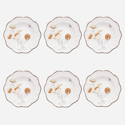 Les Champignons Soup Plates - Set of 6
