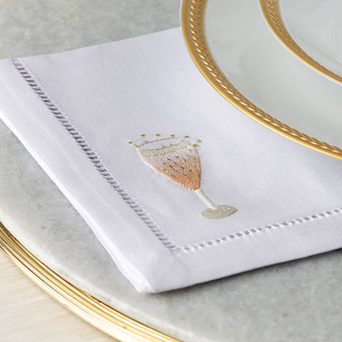 Set of Two Champagne Hand Embroidered Cocktail Napkins - BONADEA