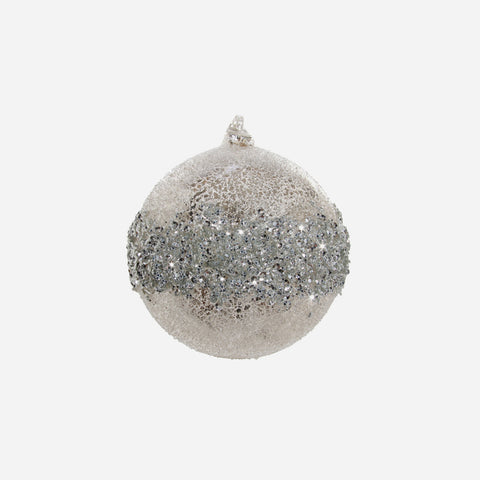 Set of 2 Glitter Embellished Glass Christmas Baubles - BONADEA