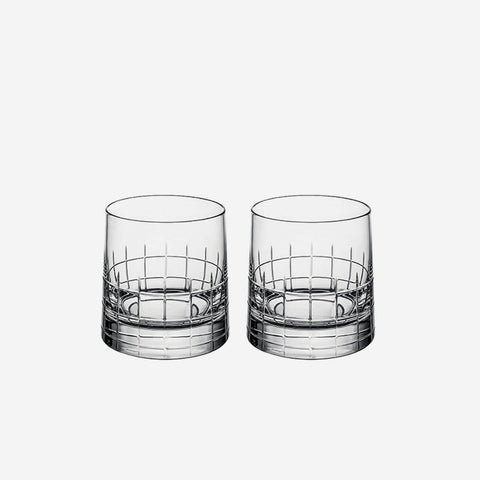 Christofle Graphik Pair of Double Old Fashioned Tumblers -BONADEA