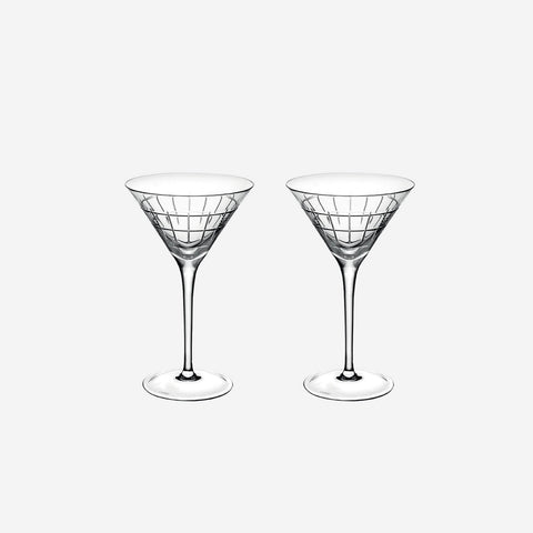 Christofle Graphik Set of Two Crystal Martini Glasses - BONADEA