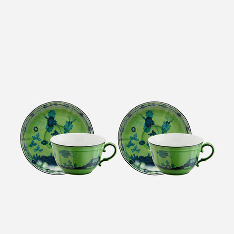 Oriente Italiano Teacup and Saucer Malachite Richard Ginori Bonadea