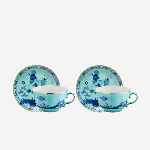 Oriente Italiano Teacup & Saucer Iris - Set of Two by Richard Ginori. Bonadea