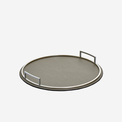 Giobagnara Defile Medium Round Leather Tray Grey