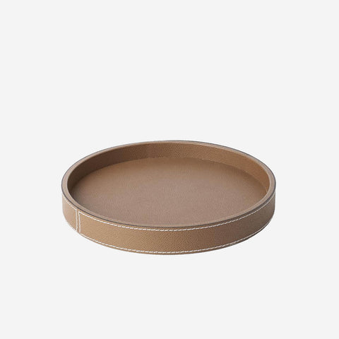 Polo Round Leather Tray Tobacco