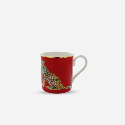 Halcyon Days Mug - Leopard On Red -BONADEA
