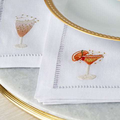 Set of Two Martini Hand Embroidered Cocktail Napkins - BONADEA
