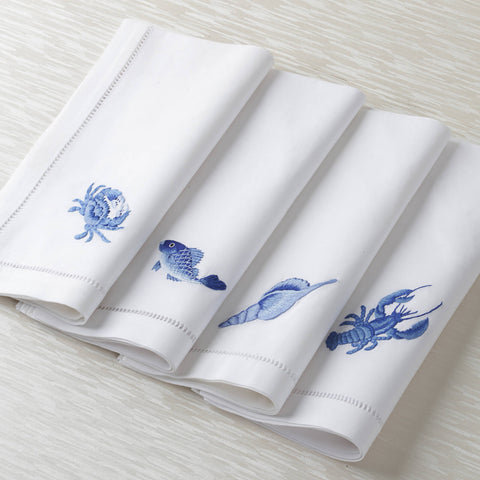 Sibona Marina Blue Fish Hand-embroidered Dinner Napkin - BONADEA