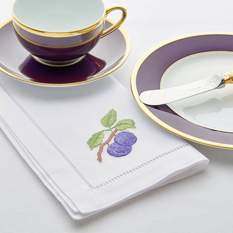 Sibona Plum Hand-embroidered Dinner Napkins