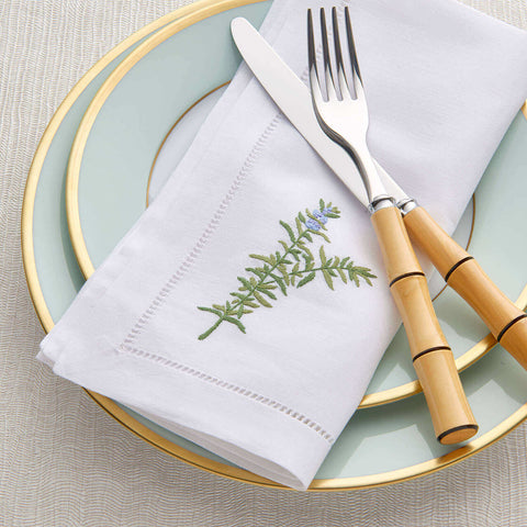 Sibona Rosemary Hand-embroidered Dinner Napkins