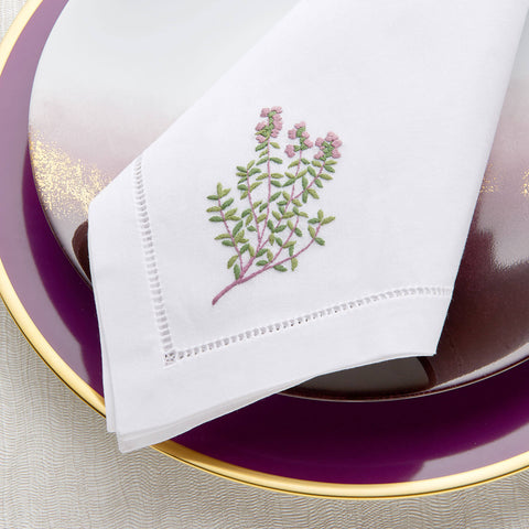 Sibona Thyme Hand-embroidered Dinner Napkins