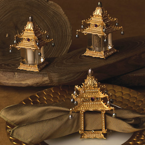 L'Objet Pagoda Gold Spice Jewels Salt & Pepper Set - BONADEA