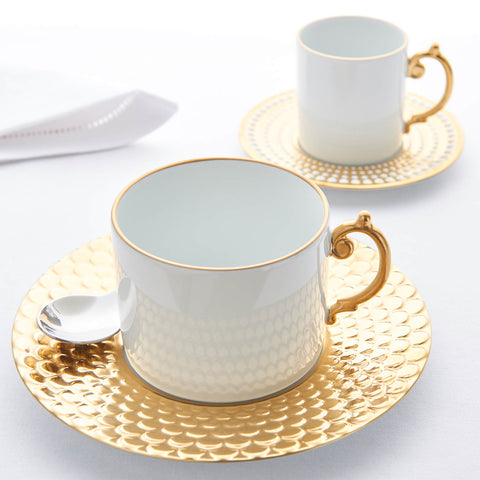 L'Objet Aegean Gold Set of 6 Espresso Cups & Saucers
