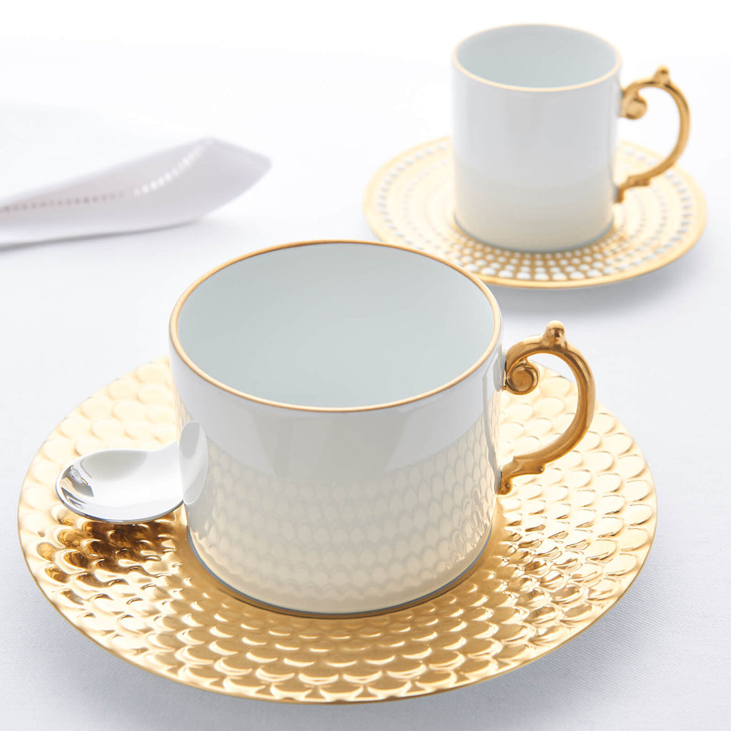 9f879099f9 L'Objet Aegean Gold Set of 2 Tea Cups & Saucers